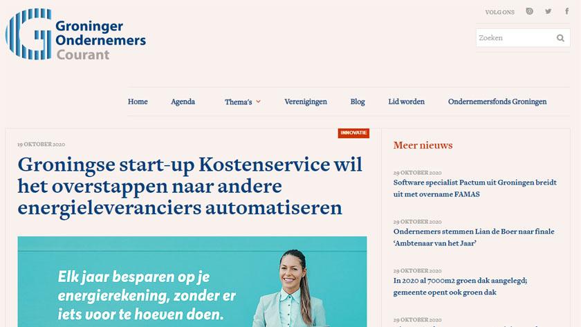 Groningse start-up Kostenservice wil het overstappen naar andere energieleveranciers automatiseren
